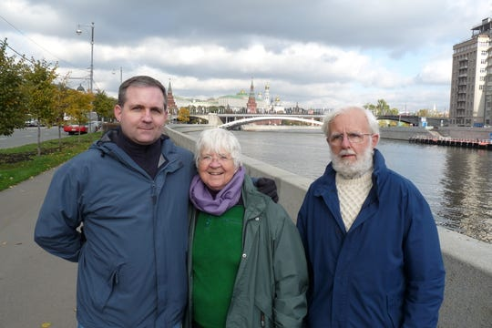 Paul Whelan of Novi poses with his parents, Rosie and Ed Whelan, in this 2009 photo taken in Moscow.