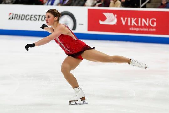 Hannah Miller of Lansing Skating Club performs at Little Caesars Arena on Thursday.