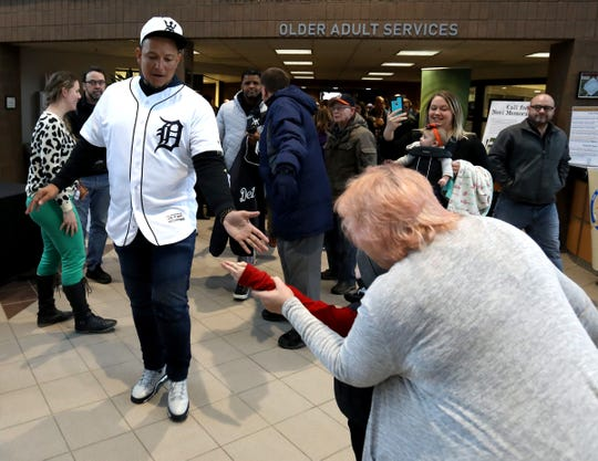Miguel Cabrera greets Tigers fans as he and teammates leave the Novi Civic Center on the 2019 Detroit Tigers Winter Caravan in Novi on Thursday, Jan. 24, 2019.