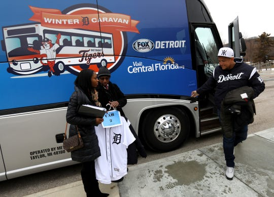 Miguel Cabrera steps off the 2019 Detroit Tigers Winter Caravan bus to have a late lunch with Novi police officers at their main police station in Novi on Thursday, Jan. 24, 2019.