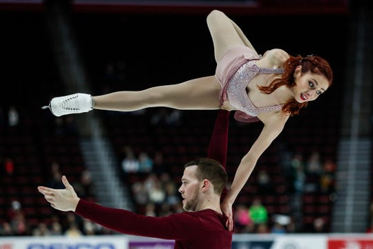 Tarah Kayne and Danny O'Shea, who was born in Pontiac, perform pairs shorts program during the 2019 U.S. Figure Skating Championships at Little Caesars Arena, Thursday.