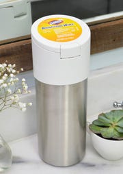 Clorox's stainless steel wipe container designed for use with Loop.