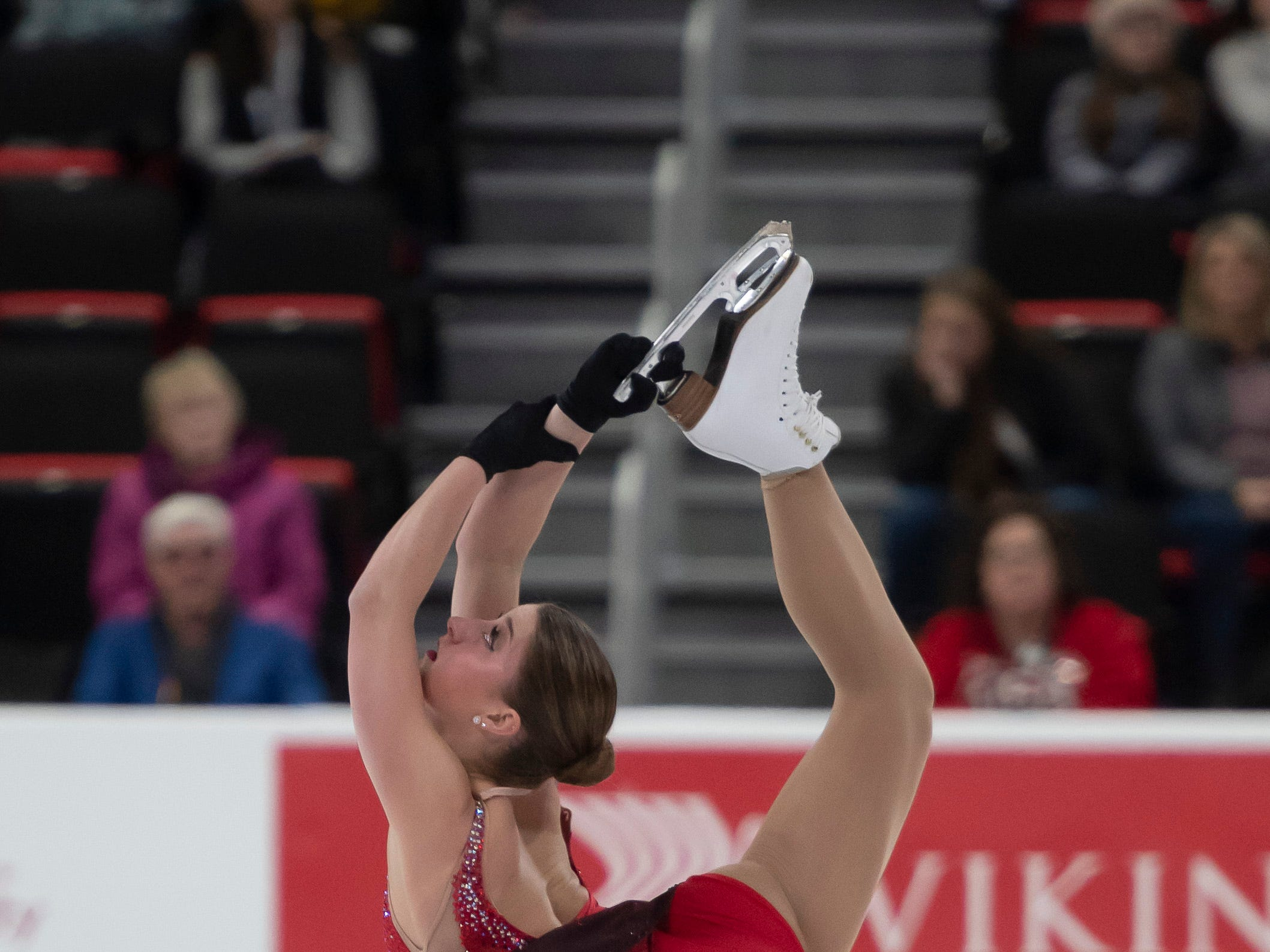 Hannah Miller, who has trained with the Lansing Skating Club, competes in the ladies short program.
