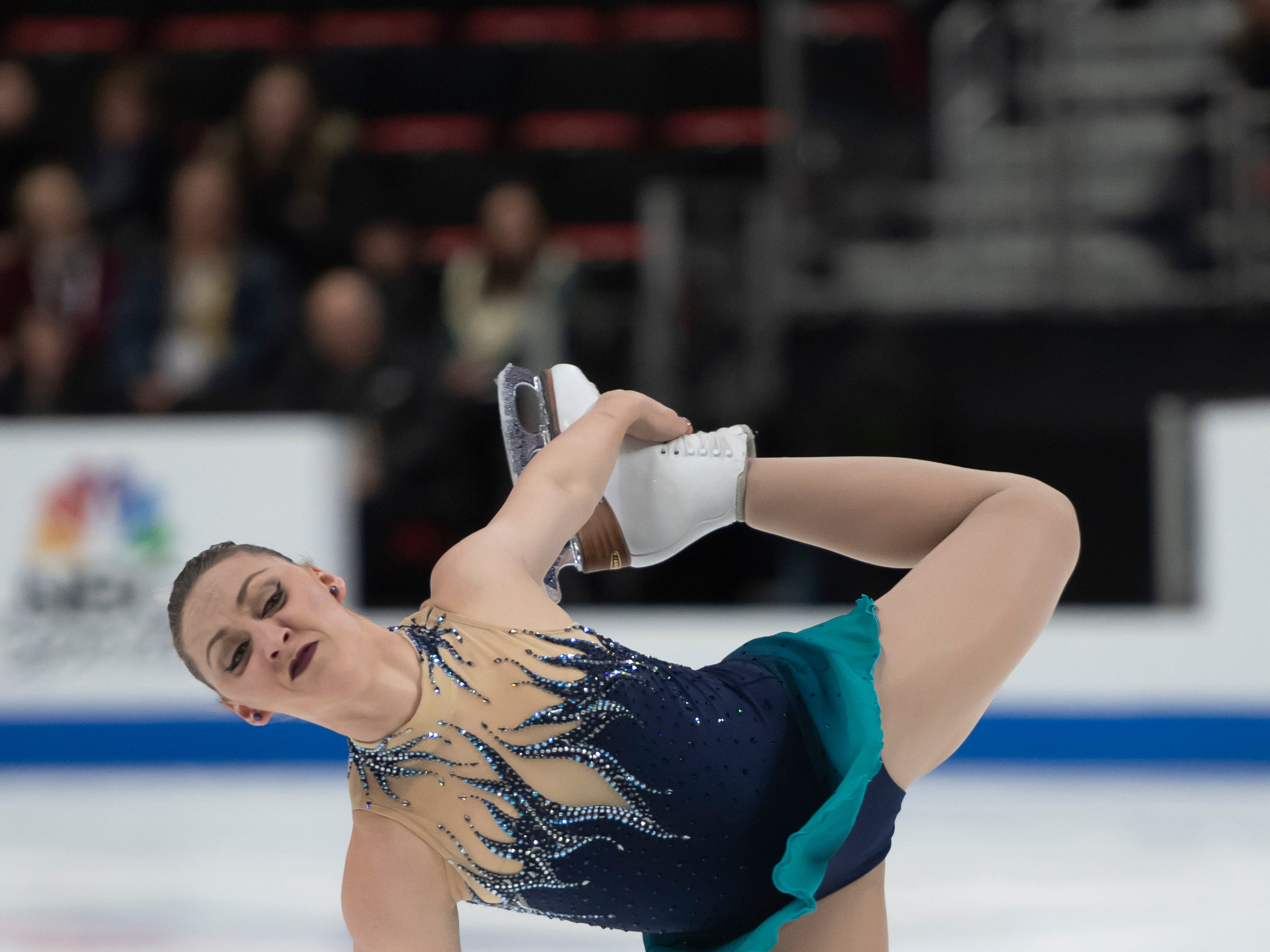 Courtney Hicks competes in the ladies short program.