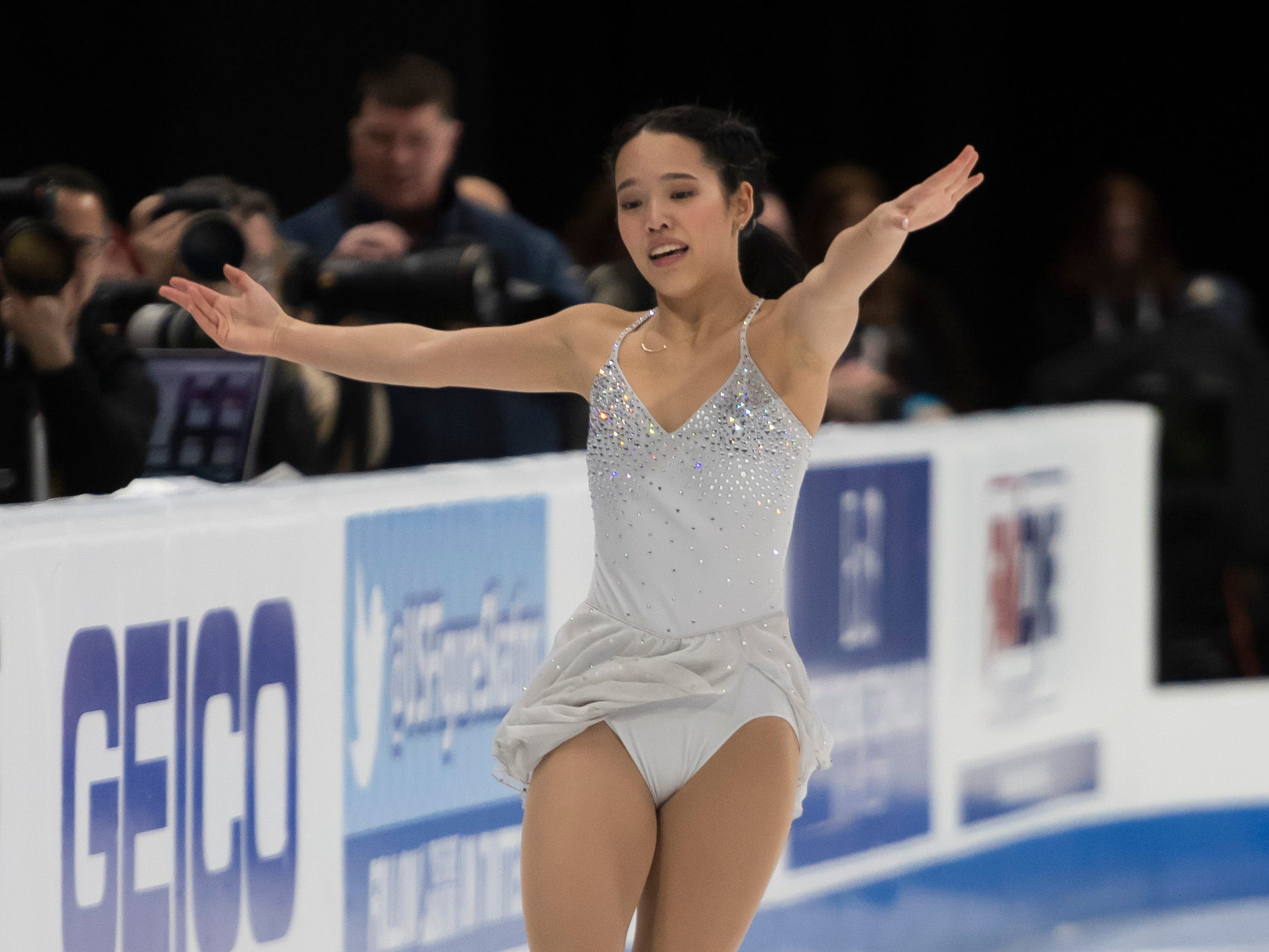 Rena Ikenishi competes in the ladies short program.