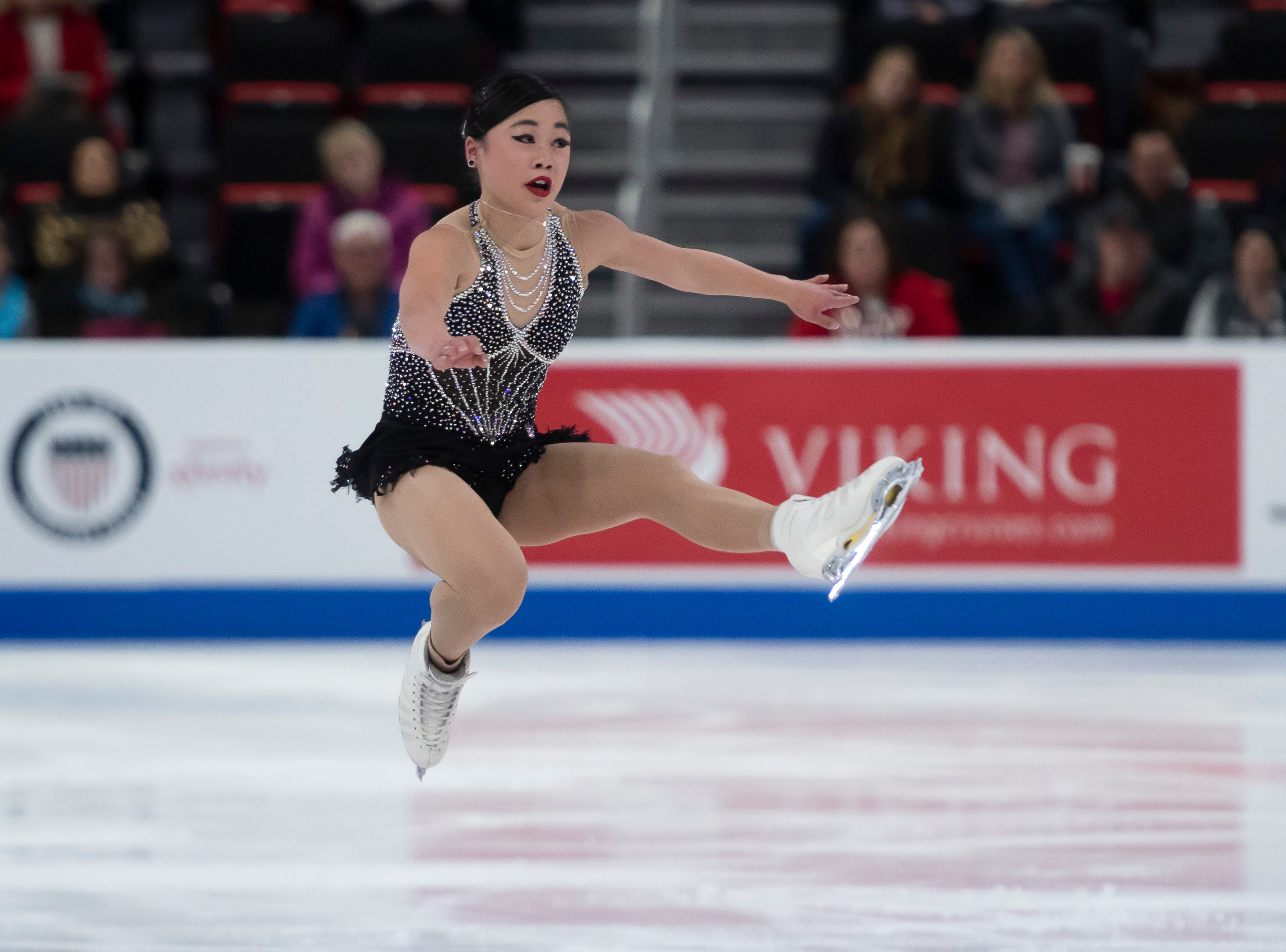 Brynne McIsaac competes in the ladies short program.