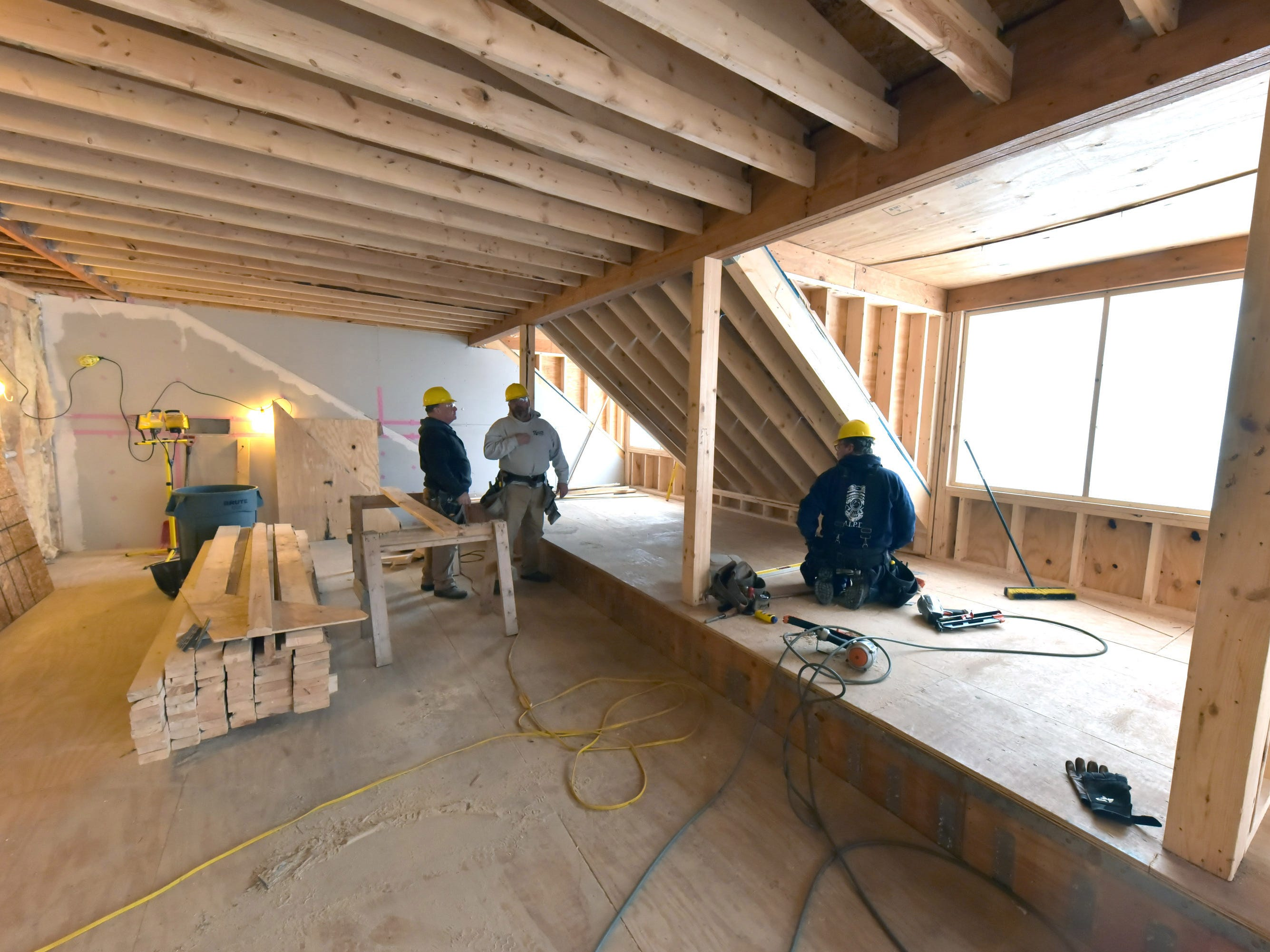Work on bedrooms and parlors on the fourth floor at Mackinac Island's iconic Grand Hotel is in the final stage of building the Cupola Suites on Monday, Jan. 14, 2019.
