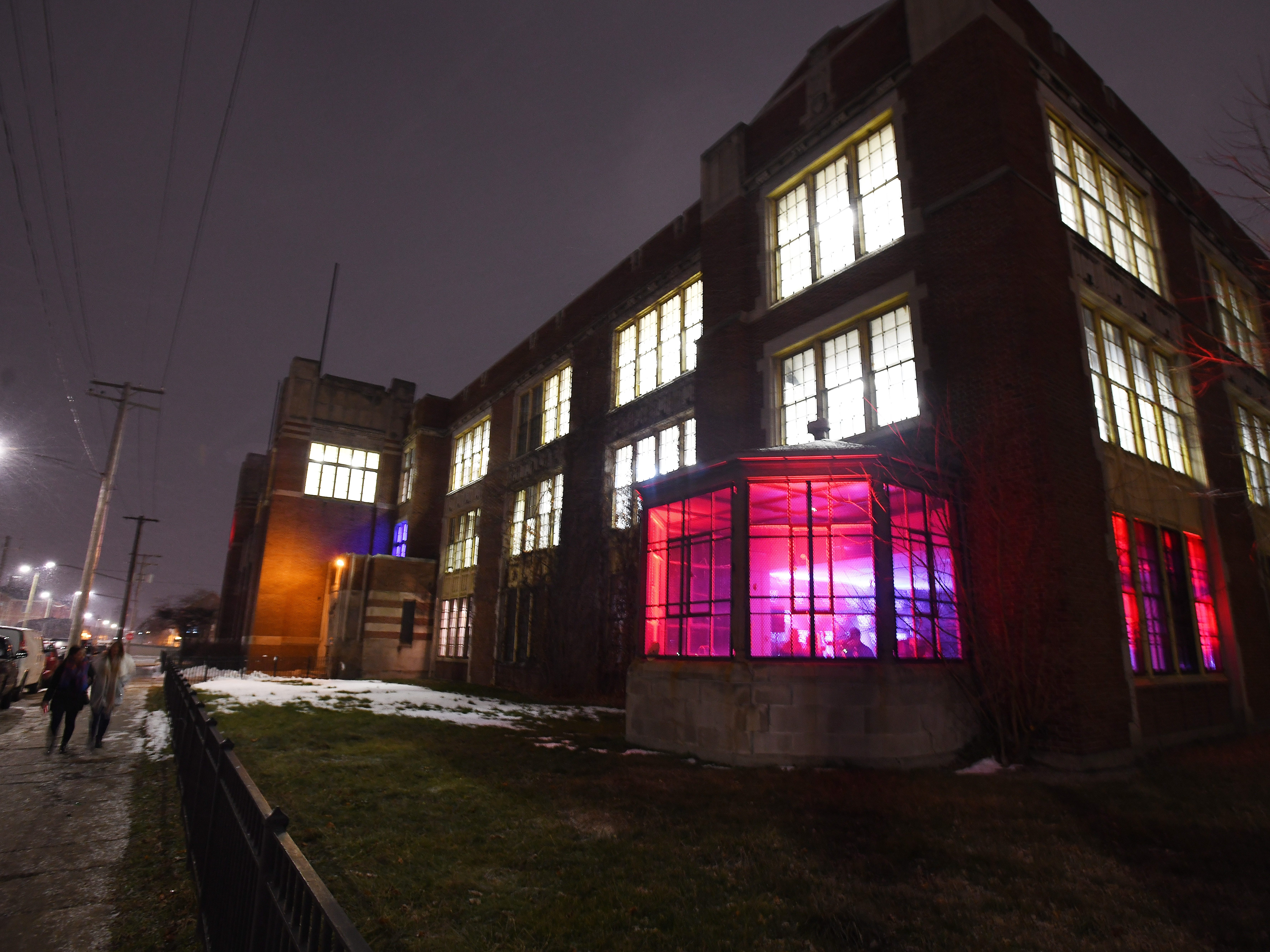 Jefferson school is rocking as the House of Vans pop-up lights up the night in Detroit on Thursday, Jan. 24, 2019.