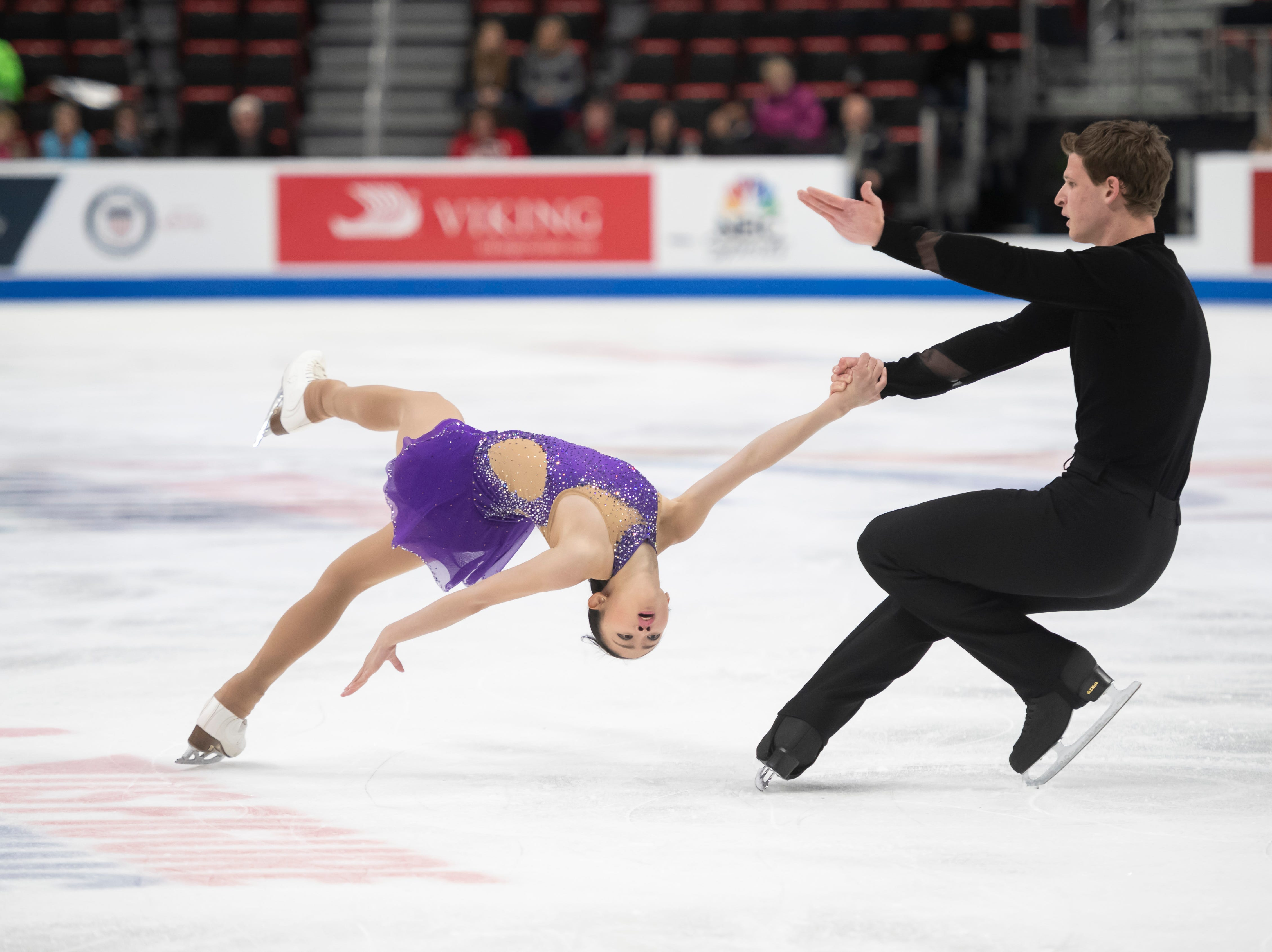 Audrey Lu and Misha Mitrofanov compete in the senior pairs short program.