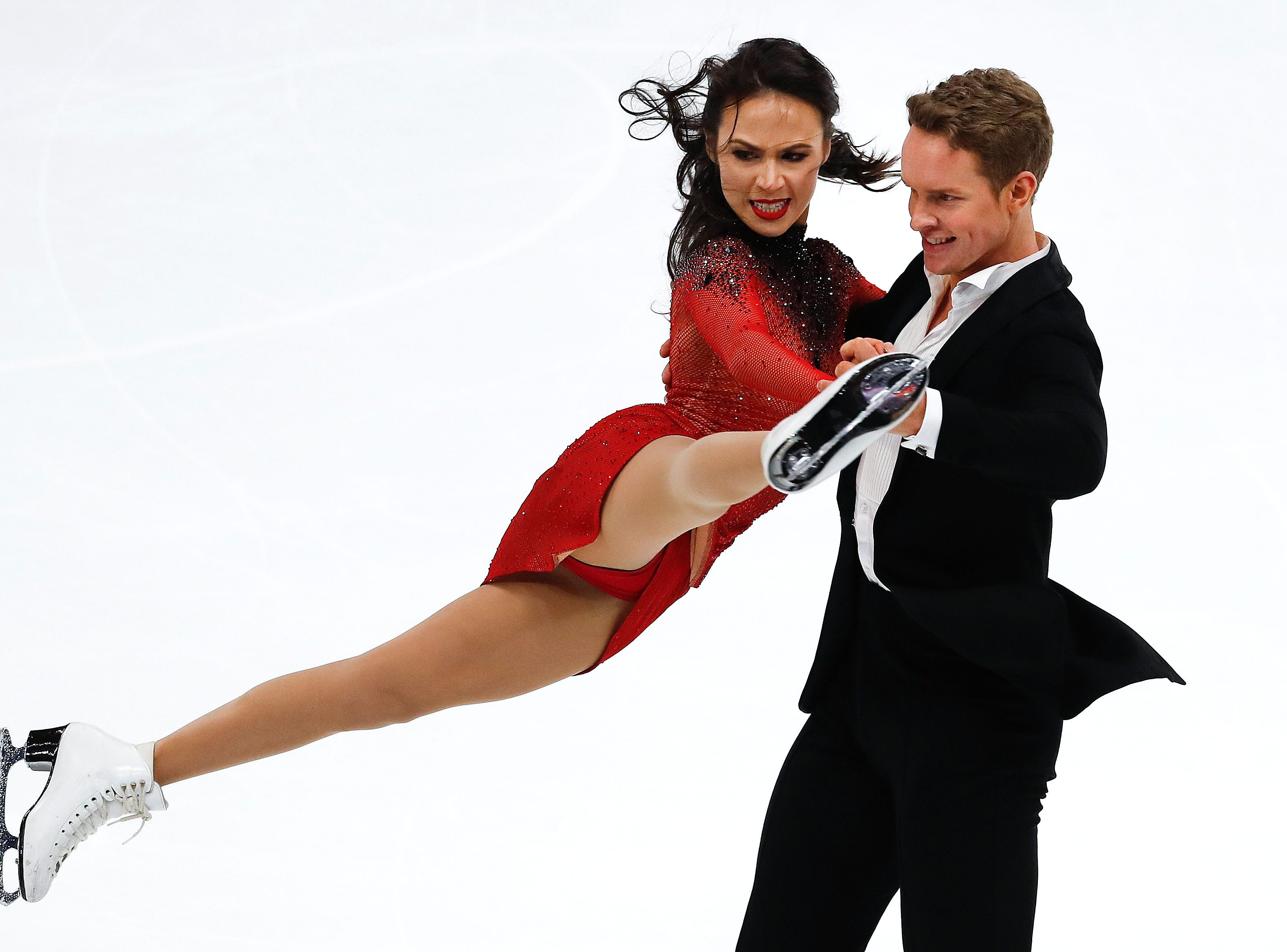 Taking second place, Madison Chock and Evan Bates perform their rhythm dance program at the U.S. Figure Skating Championships, Friday.