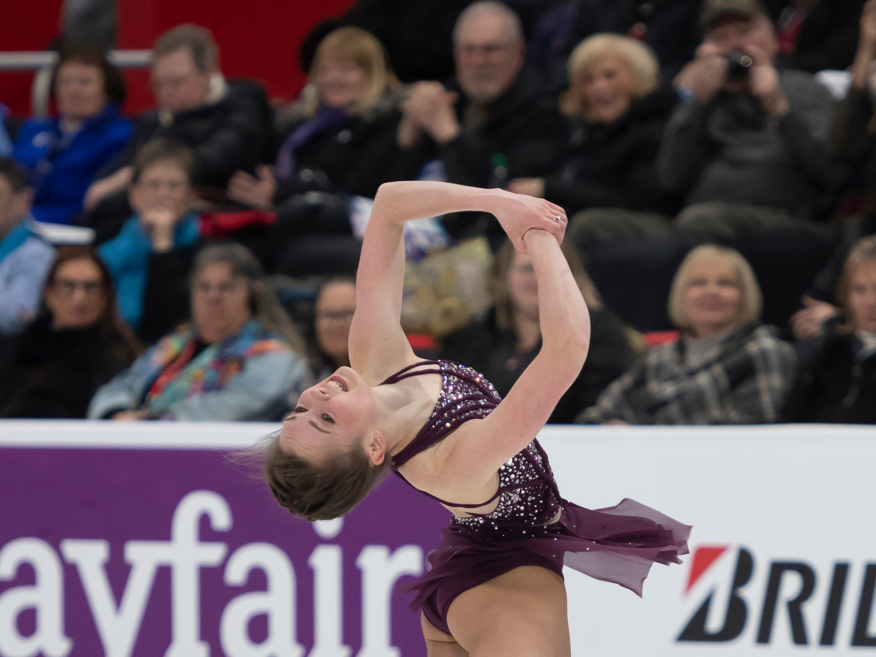 Mariah Bell competes in the ladies short program.