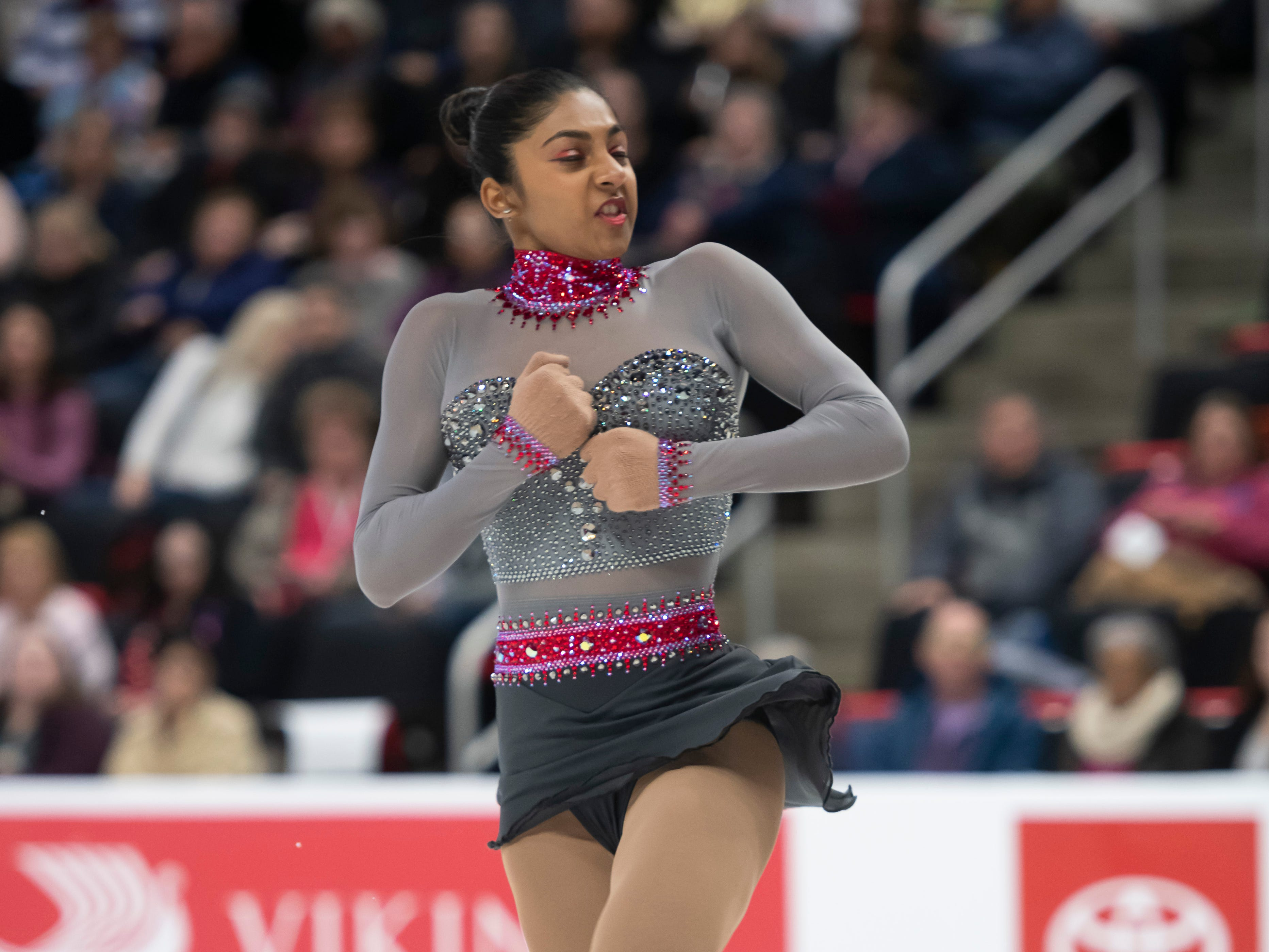 Pooja Lalyan competes in the ladies short program.