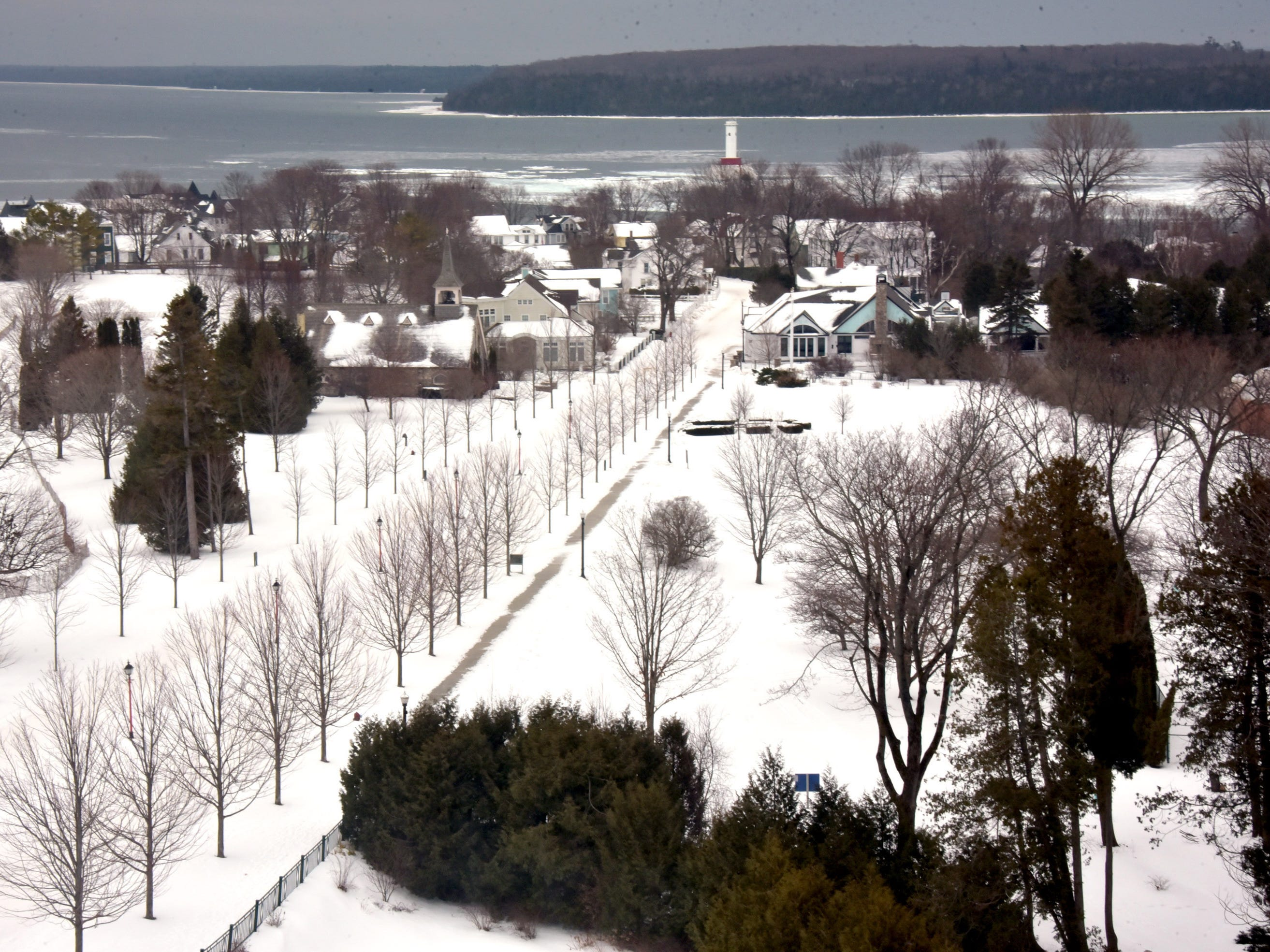 The view from a Cupola Suite at Mackinac Island's Grand Hotel overlooks Lake Huron.