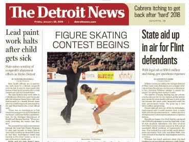 The front page of The Detroit News on Friday, January 25, 2019.