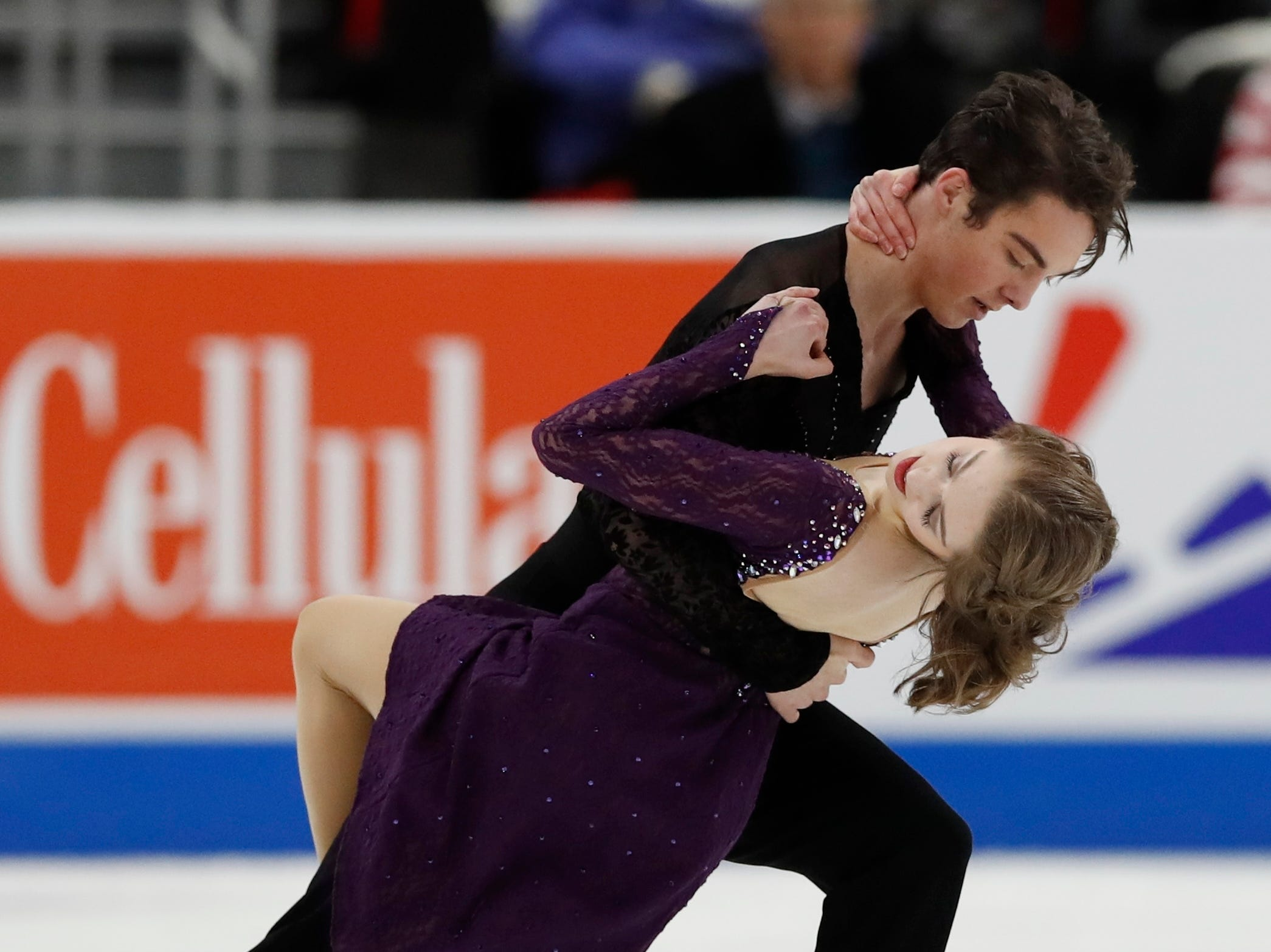 Bailey Melton and Ryan O'Donnell perform in the rhythm dance program during the U.S. Figure Skating Championships.