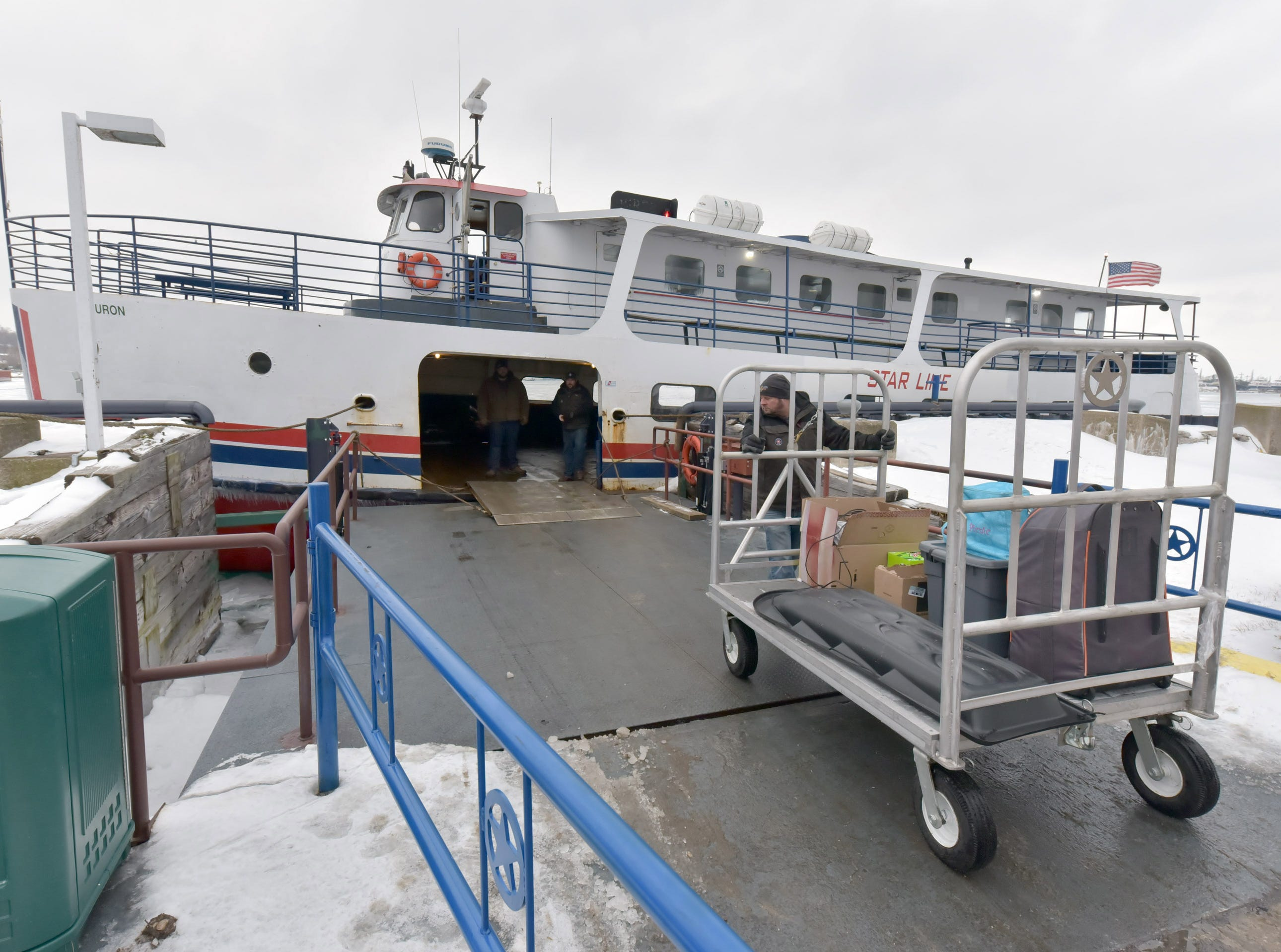 The Star Line's Huron is the only ferry running during the winter months to Michigan's Mackinac Island. With ice-breaking capabilities, the ferry runs several times each day to the island, keeping supplies and people moving during the winter months. The ferry will operate until the ice becomes too thick to break a path.