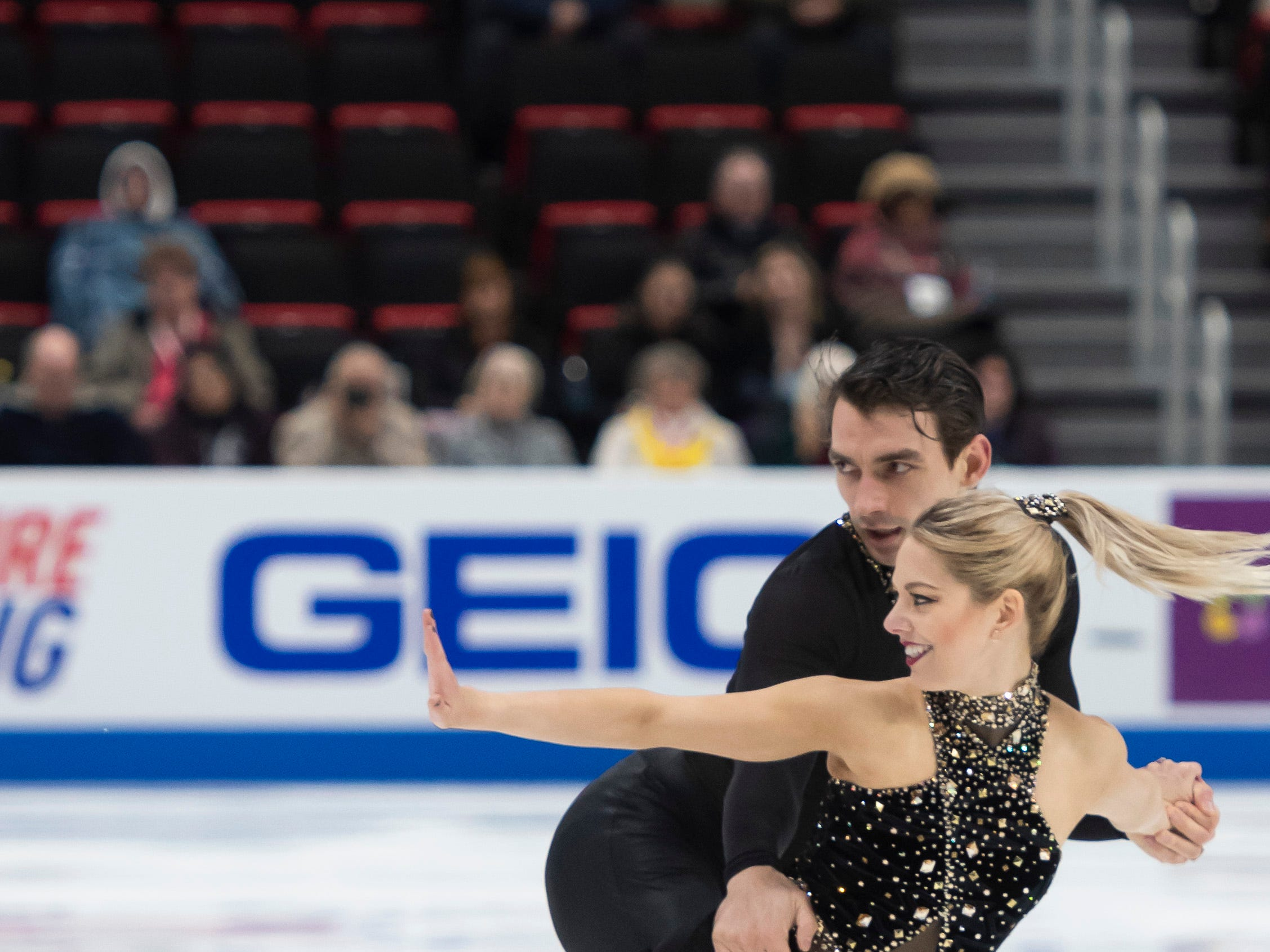 Alexa Knierim and Christopher Knierim compete in the senior pairs short program.