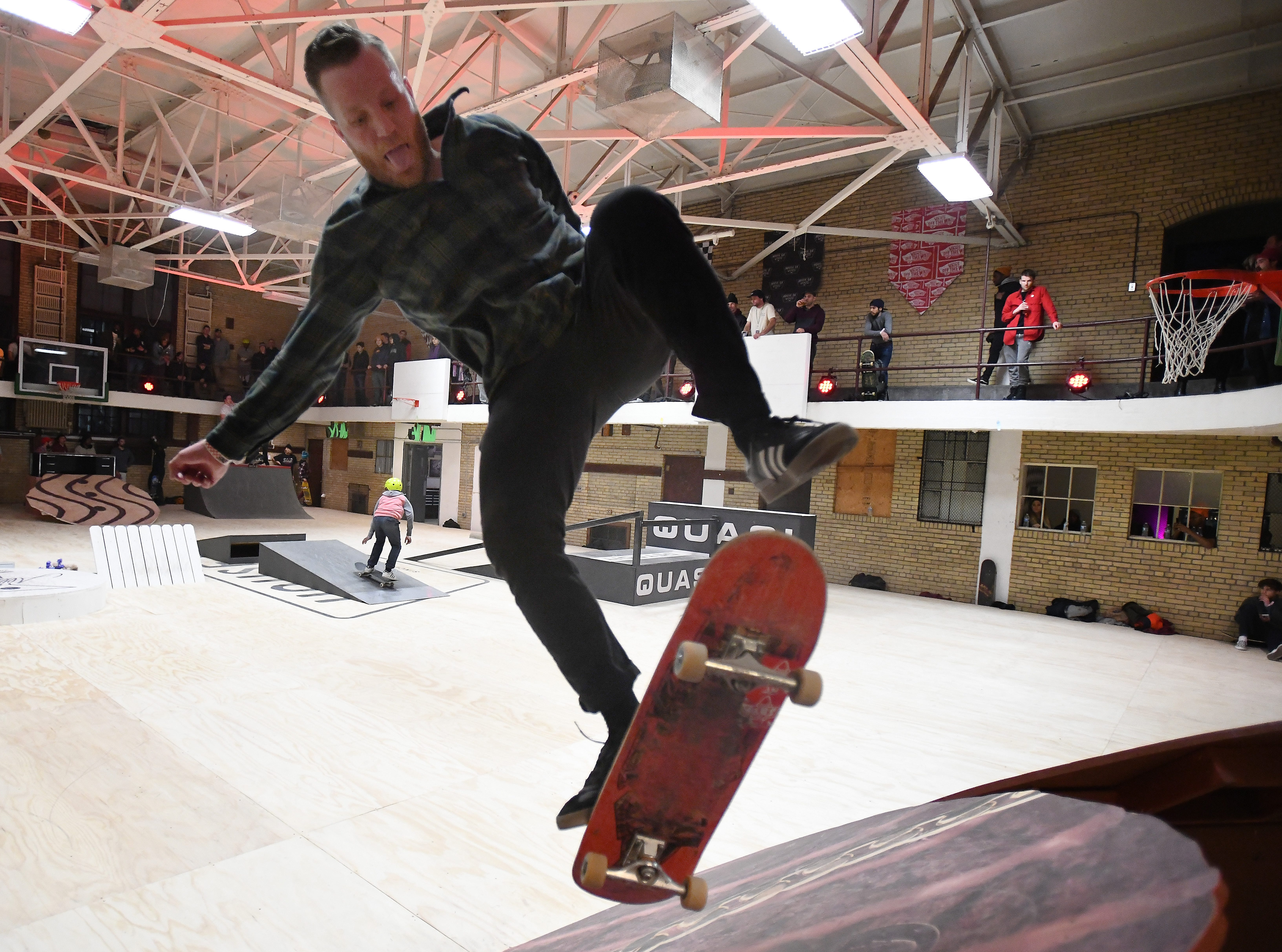 Pat Galloway of Detroit works at a pop-up skate park at the House of Vans.