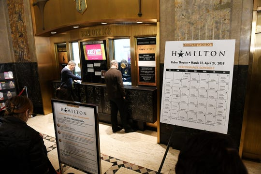 People at the box office in the lobby of the Fisher Building in Detroit on Jan. 25, 2019 are hoping they are chosen in the lottery to be able to get tickets for Hamilton which will be at the Fisher Theatre in March 2019.