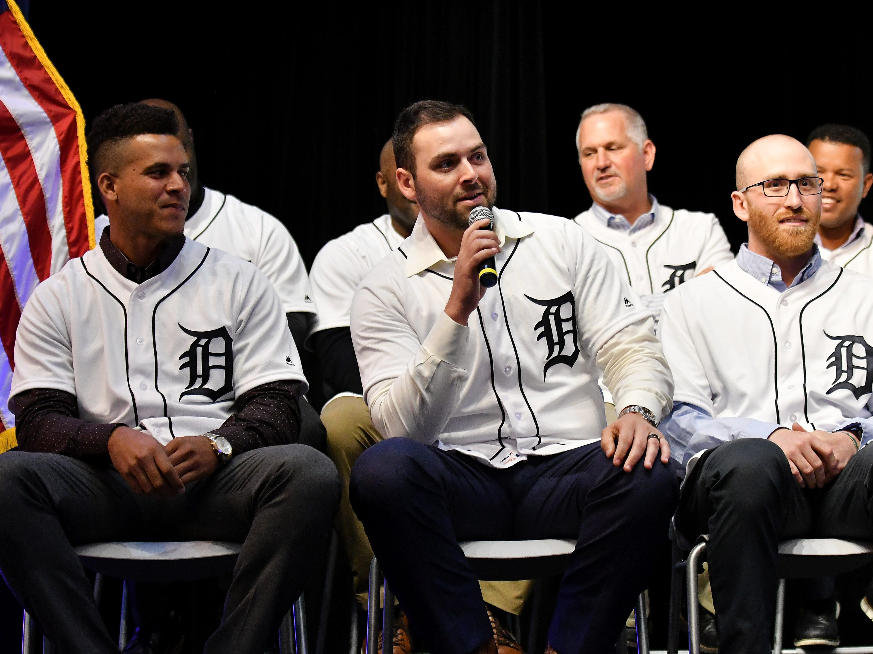 Tigers pitcher Michael Fulmer, center, answers a question and talks about doing some part-time plumbing in the off season during a stop on the 2019 Detroit Tigers Winter Caravan at the Novi Civic Center in Novi, Mich. on Jan. 24, 2019. Jose Fernandez is at left and Reed Garrett, right.(Robin Buckson / The Detroit News)