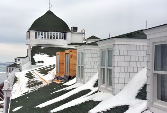 New dormers are appearing on the fourth floor roof at Mackinac Island's iconic Grand Hotel Monday, January 14, 2019. The hotel is in the final stage of building the Cupula Suites, adding bedrooms and parlours on the fourth floor roof. The completed dormers in the foreground were completed two years ago.