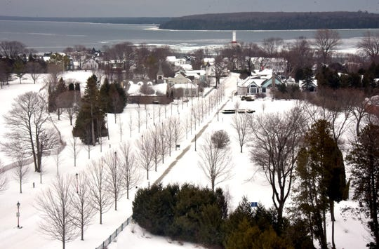 The view from a Cupula Suite at Mackinac Island's Grand Hotel overlooks Lake Huron Monday, January 14, 2019.