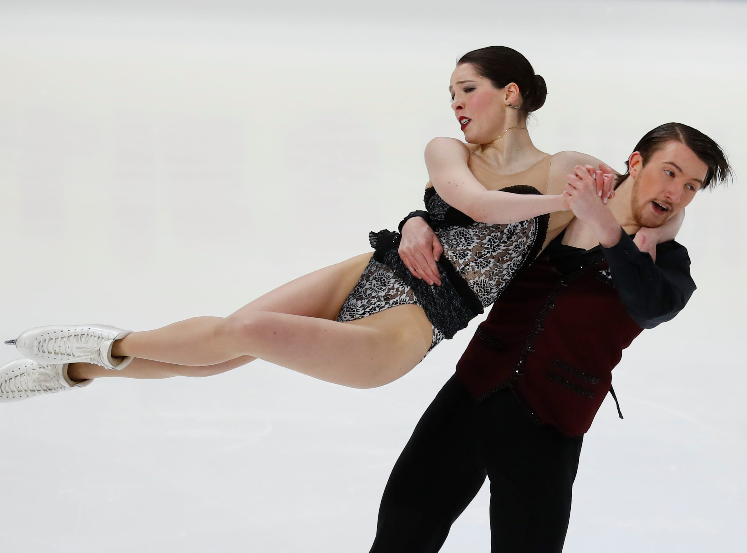 Lorraine McNamara and Quinn Carpenter, perform their rhythm dance program at the U.S. Figure Skating Championships.