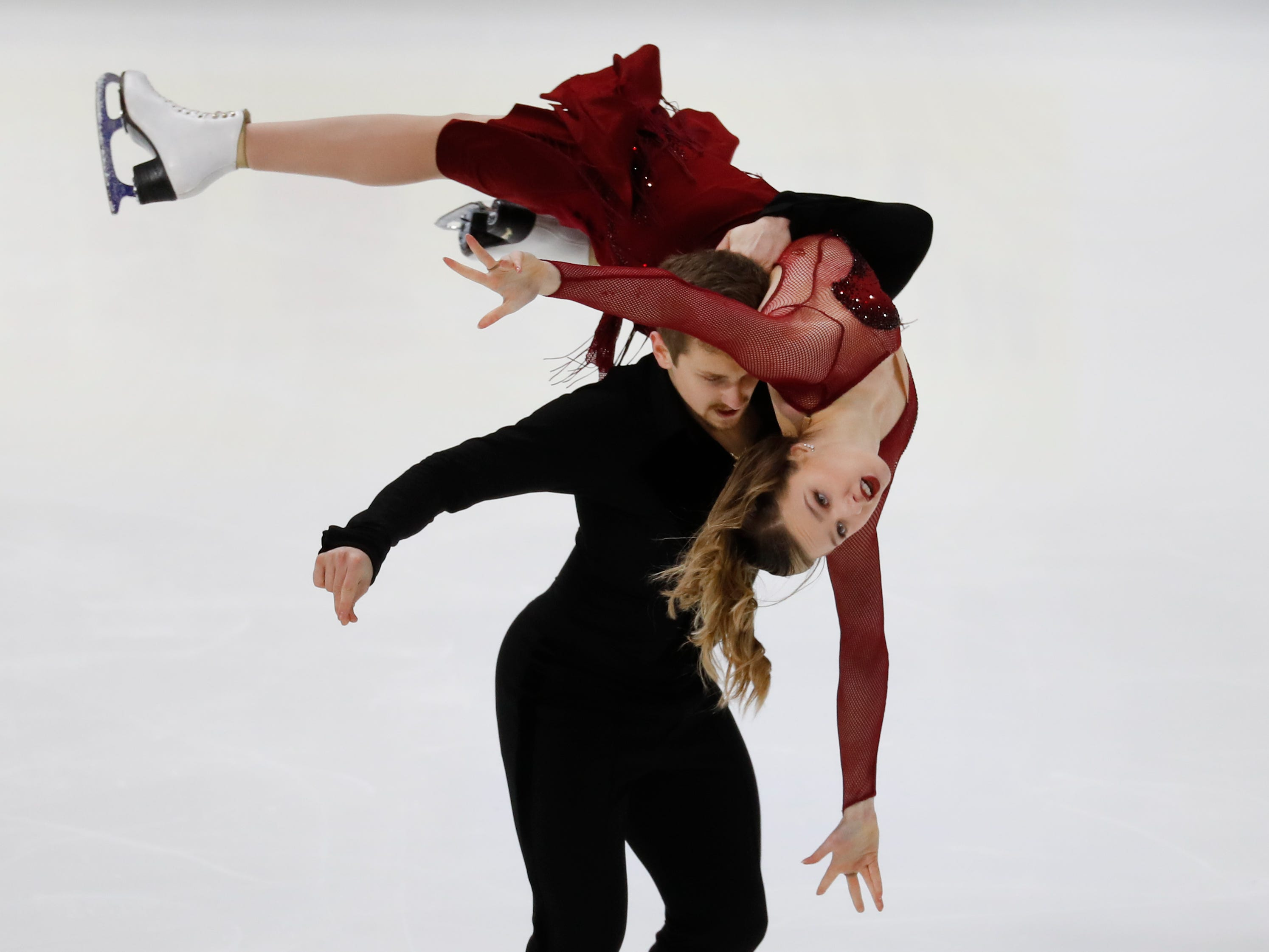 Christina Carreira and Anthony Ponomarenko perform their rhythm dance program at the U.S. Figure Skating Championships.