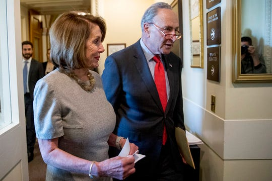 House Speaker Nancy Pelosi of Calif., and Senate Minority Leader Sen. Chuck Schumer of N.Y., arrive for a news conference on Capitol Hill in Washington, Friday, Jan. 25, 2019, after President Donald Trump announces a deal to reopen the government for three weeks.