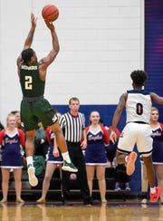 Missouri S & T's C.J. Hedgepeth (2) shoots from the corner as the University of Southern Indiana Screaming Eagles play the Missouri Science & Technology Miners at the PAC Arena Thursday, January 24, 2019.