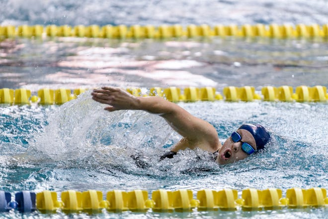 Mikaela Jenkins, shown here competing in the SIAC swimming and diving championships in 2019, is participating in this week's Paralympics in Tokyo.