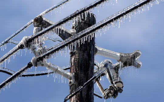 Icicles form on power lines on the east side of Evansville. Ice and down trees caused power outages for over 70,000 customers all throughout the city.