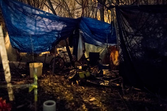 A homeless camp on the North Side of Evansville off First Avenue during the homeless county in January.