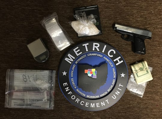 Suspected drugs taken by police during a search Thursday in Bloomville.