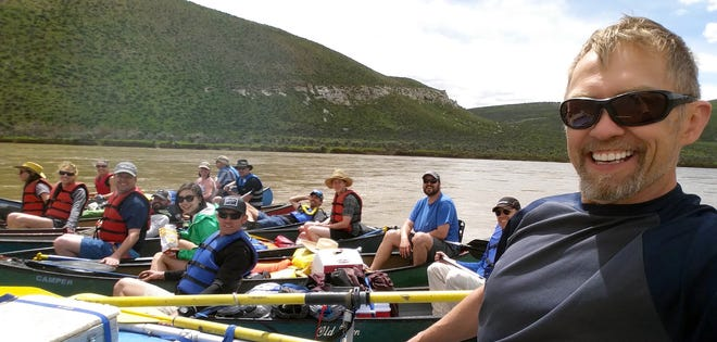 Justin Larson, front, is pictured on one of VFLA's annual retreats, this one on the Yampa River. Larson died from injuries suffered in a motorcycle crash in Mexico.