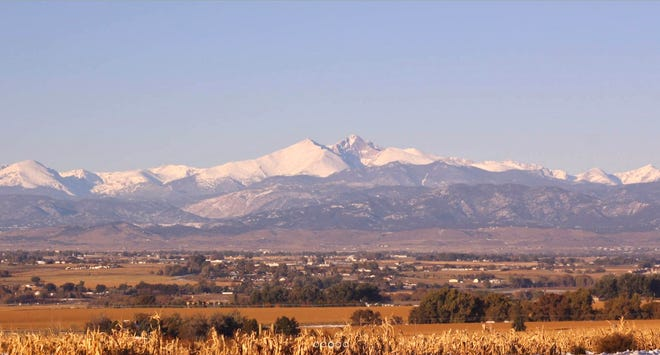 Mountain views from the site along U.S. 34 and Highway 257.