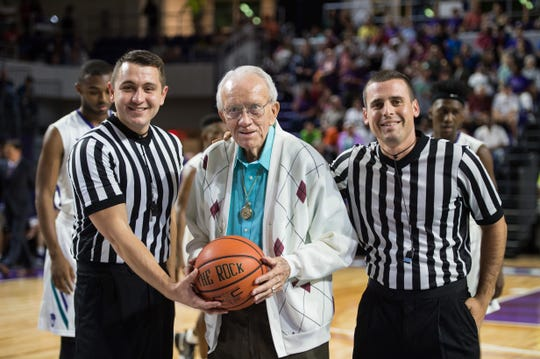 Hugh Thimlar, coach for 26 years at what was then Edison Community College, was honored Dec. 1, 2017, during a ceremony at Suncoast Credit Union Arena at Florida SouthWestern State College.
