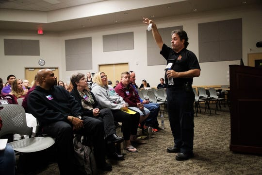 Retired paramedic Luis Garcia holds a seminar for the community on Narcan at Florida SouthWestern State College on Friday 1/25/2019. Narcan is a lifesaving antidote for opioid overdoses.