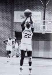 Joe Cherry takes a foul shot during a game in his senior year at Riverdale. He also attended and played basketball for the University of North Carolina at Wilmington.