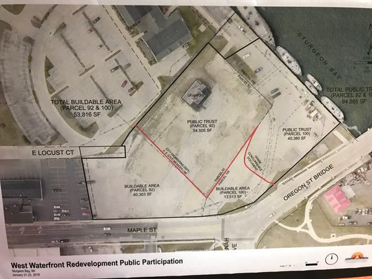Map of the property slated for redevelopment along the Sturgeon Bay west side waterfront. The red line represents the ordinary high water mark. Land waterward of the line is protected by the Public Trust Doctrine.