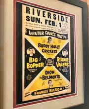 A poster from the 1959 Winter Dance Party hangs in the newly remodeled lobby of the Riverside Ballroom in Green Bay. The cost to get in that night 60 years ago? Ninety cents before 8 p.m.