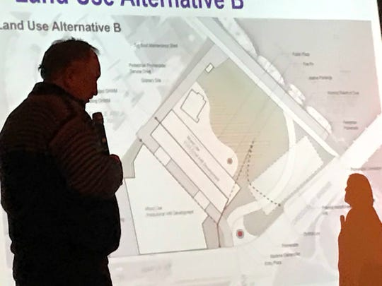 Proposed plan B for west side waterfront redevelopment created by Short Elliot Hendrickson. Plan includes less green space with development of public and private partnerships