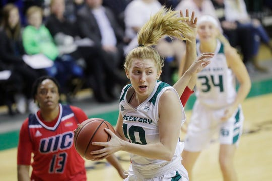 Green Bay Phoenix guard Anna Brecht (10) catches a pass under the basket against the UIC Flames in a Horizon League basketball game Jan. 24, 2019, at the Kress Center in Green Bay, Wis.