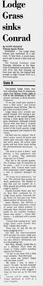 Lodge Grass met Conrad in the first round of the State B tournament in 1990.