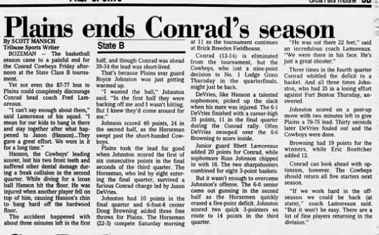It was a rough day for the Conrad Cowboys, and star Jason Hanson, during loser-out action of the State B tournament in 1990.