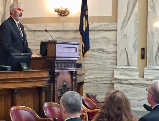 Montana Supreme Court Chief Justice Mike McGrath speaks Thursday to the House.