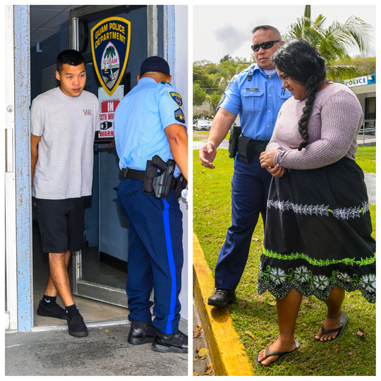 Austin Rabon, left, and Charity Alex, right, are escorted out of the Hagåtña precinct on Thursday, Jan. 24, 2019. Rabon was arrested in connection with fatal November 2018 auto-pedestrian accident in Yigo and Alex was arrested in connection with a fatal Jan. 6 accident in Tamuning.