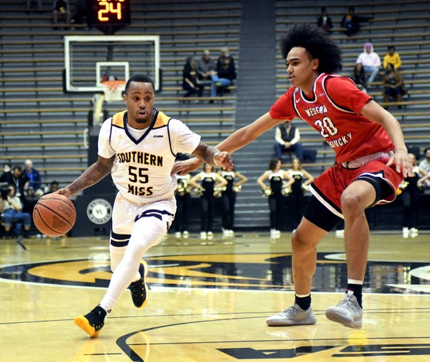 Southern Miss guard Tyree Griffin takes control of the ball in a game against Western Kentucky University in Reed Green Coliseum on Thursday, January 24, 2019.