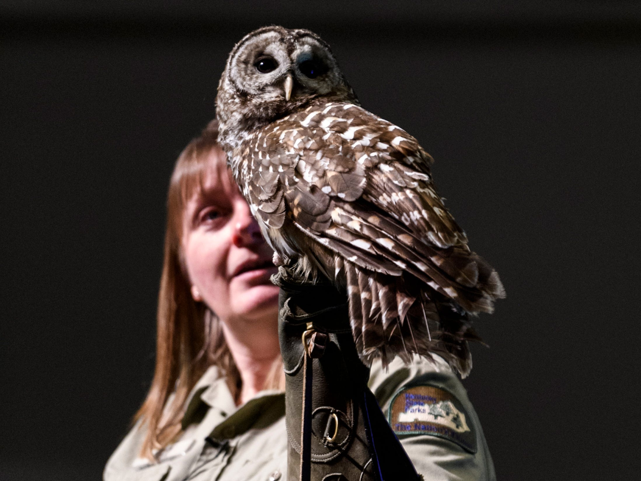 Lisa Hoffman of John James Audubon State Park shows off a live Barred Owl to the crowd attending a Family Night for Cairo and Jefferson Elementary school students at Henderson Community College's Preston Arts Center in Henderson, Thursday, Jan. 24, 2019. The students were invited to participate in nature education activities and see the National Geographic Photo Ark exhibit by photographer Joel Sartore, which will be on display for the public until March 15.