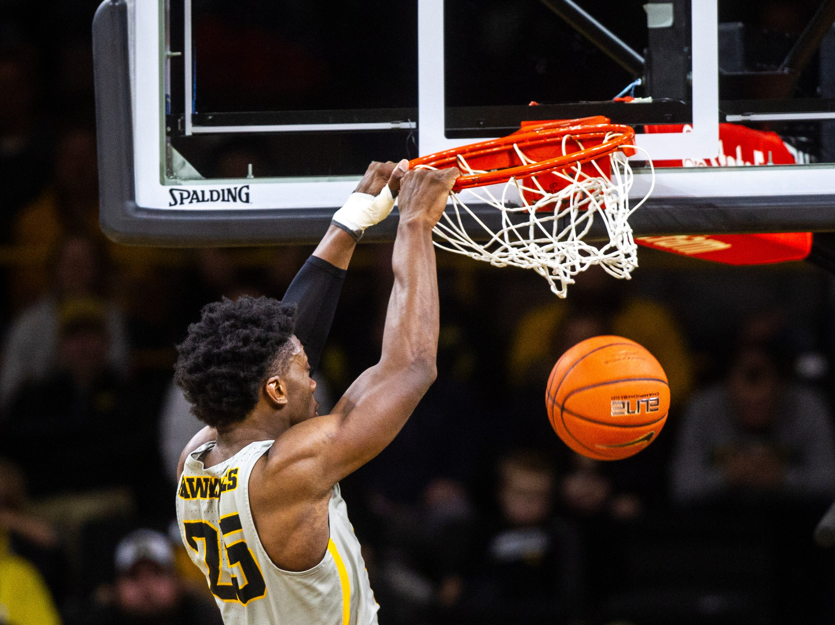 Iowa forward Tyler Cook (25) dunks during a NCAA Big Ten Conference men's basketball game on Thursday, Jan. 24, 2019, at Carver-Hawkeye Arena in Iowa City, Iowa.